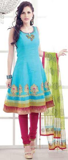 Sky Blue and Magenta Flair Cotton Churidar Kameez With Dupatta Itemcode: KGF3244 Price: US $109.52 Click @ http://www.utsavfashion.com/store/sarees-large.aspx?icode=kgf3244