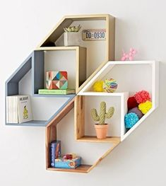 60 Creative DIY Projects Furniture Living Room Table Design Ideas 50 – Home Design Unique Wall Shelves, Wall Shelves Design, Unique Wall Decor, Unique Bookshelves, Wall Shelving, Shelving Units, Ikea Shelves, Diy Furniture, Furniture Design