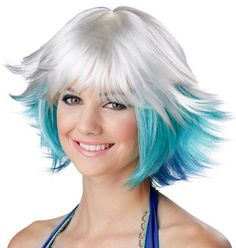 Fantasia White Turquoise & Blue Costume Wig - The Fantasia is a pixie styled short costume wig with three layers of white, turquoise and blue colours.  You will look and feel amazing wearing this wig. www.thewigoutlet.com.au
