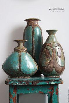 Handmade ceramic vases set | Купить Обитатели бирюзовые. Вазы - бирюзовый, вазы, ваза, керамическая ваза, ваза декоративная