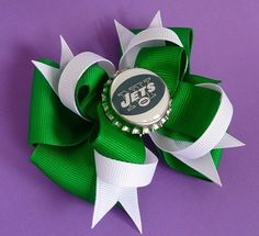 New York Jets Football Custom Green and White Bottle Cap Bow. $7.50, via Etsy.
