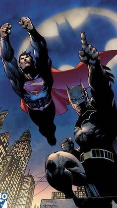 Jim Lee Batman e Superman Arte Do Superman, Batman Et Superman, Jim Lee Superman, Batman Et Catwoman, Illustration Batman, Comic Illustrations, Batman History, Geeks, Comic Art