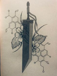 Needs some tweaking but I'm currently in the process of designing my buster sword tattoo. Fantasy Blade, Fantasy Sword, Fantasy Weapons, Fantasy Art, Final Fantasy Tattoo, Final Fantasy Vii Remake, Star Wars Poster, Star Wars Art, Star Trek