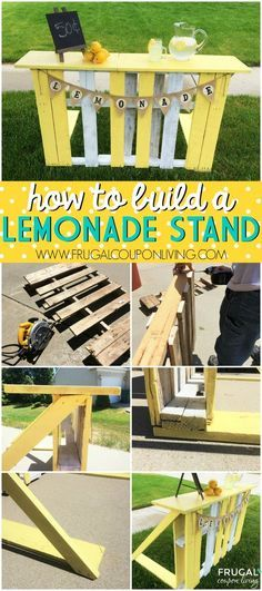 How to Build a Lemonade Stand with a Recycled Pallet - DIY Lemonade Stand on Frugal Coupon Living plus Southern Pink Lemonade Recipe.