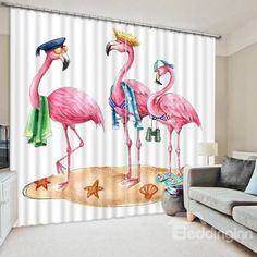 Cute Cartoon Flaminges Print #3D #Blackout #Curtain