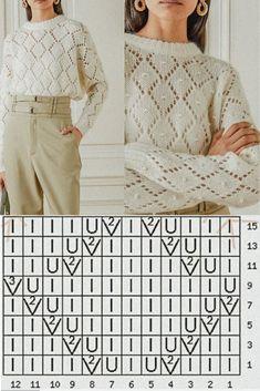 Knitting Paterns, Lace Knitting, Knitting Stitches, Knit Patterns, Stitch Patterns, Knitwear, Jumper, Pullover, Sewing