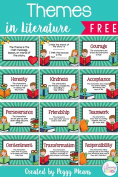 Primary Flourish - Making it easier for teachers to teach & students to learn. So both will flourish! 10 Themes in Literature Anchor Posters: Studying theme helps us look deeper into the story in order to understand its meaning. Reading Themes, Reading Resources, Reading Skills, Teaching Reading, Reading Classes, Teaching Ideas, Learning, Teaching Time, Reading Activities