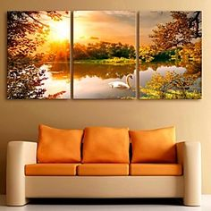 Canvas Set Landscape Traditional Classic,Three Panels Vertical Print Wall Decor For Home Decoration 2018 - Three Canvas Painting, Multiple Canvas Paintings, Multi Canvas Art, Lake Painting, Pinturas Art Deco, Home Bild, Art Deco Paintings, Lake Decor, Panel Art