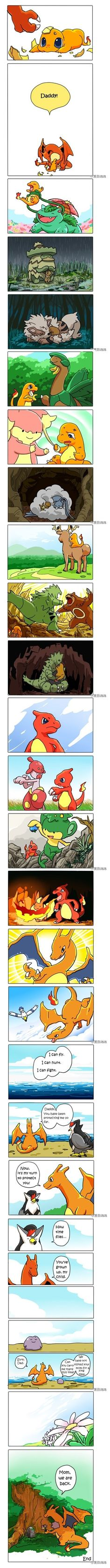 It's so sad at the end! And it makes sense that the Charmander's father is a Ditto because it was all these different Pokemon!