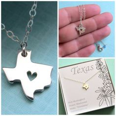 State of Texas Necklace with Open Heart, Sterling Silver, Dallas, Austin, San Antonio, Texas Love, Texas Girl, Sentiment Card