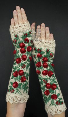 Knitted Fingerless GlovesIvory RedRoses  31 by nbGlovesAndMittens