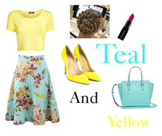 """""""Teal and mellow yellow"""" by fashionbeauty24 ❤ liked on Polyvore featuring Blumarine, Pilot, Camille la Vie, Gianvito Rossi and Smashbox"""