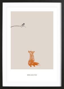 Bird And Fox - Sarah Bühler - Ingelijste poster