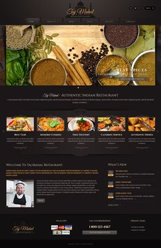 Indian restaurant Wordpress Template on Behance