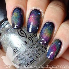 #31DC2013 Day 19: Galaxy! I'm not late!!! Ugh idk what it is about galaxy nails but I can take good photos of them to save my life. This is the best I could do. They're 10000x cooler in person.  #darcys31dc #Padgram