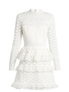 High neck pleated lace embroidered dress white