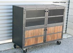Rustic/INDUSTRIAL rolling cabinet. By Combine 9 Design