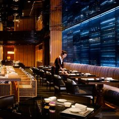 Japanese restaurant at the Four Seasons Hotel Guangzhou, designed by HBA/Hirsch Bedner Associates.