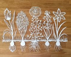 Vegetable and floral paper cut.