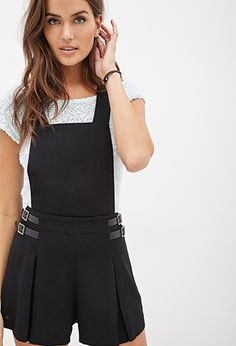 Woven Buckled Shorts Overalls | FOREVER21 - 2055878266