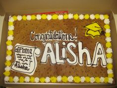 We love a celebratory cookie cake! American Cookie, Cookie Cakes, Graduation Ideas, Delish, Congratulations, Baking, Desserts, Projects, Food