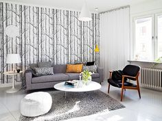 Grey sofa + tree decal