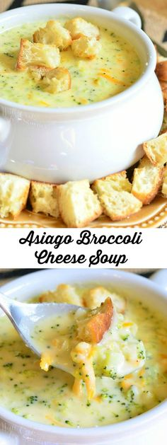 Asiago Broccoli Cheese Soup Easy dinner recipe for comfort food Asiago Broccoli Cheese Soup, Asiago Cheese, Cheddar Cheese, Broccoli Soup Recipes, Brocoli Soup, Salad Recipes, Fall Soup Recipes, Broccoli Casserole, Broccoli Cheddar