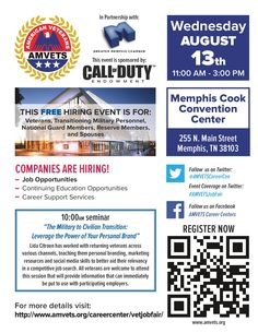 We are excited to announce the Greater Memphis Chamber has officially become a partner for our upcoming job fair in Memphis, TN! This job fair is a free hiring event for Veterans, transitioning military, National Guard, Reserve, and spouses on August 13th! #military #veterans #spouses #jobfair #memphis