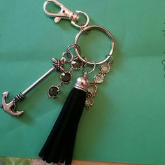 handmade anchor keychain silver anchor keychain with black tassel Accessories Key & Card Holders