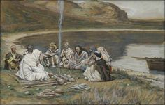 with the disciples around a fire
