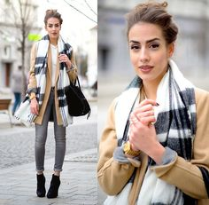 Zara Scarf Checked Grey, Mango Grey Skinny Jeans, Stradivarius Beige Coat, Mango White Basic Top