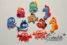 Krawka: Underwater world applique - free pattern for whale, nemo fish, octopus, seahorse, crab