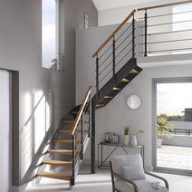 Escalier droit Uno Sapin massif - Rampe Câbles - Lapeyre   idée déco   Pinterest