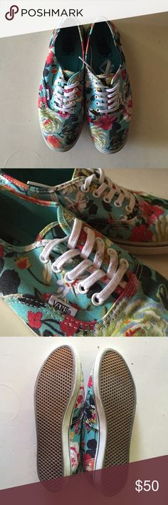 Floral Authentic Slim Vans These size 8 Vans have a super cute pink/orange/green floral pattern over bright blue. They are in like-new condition; only worn a couple times (always with socks)! I would have worn them more but they are slightly tight on my feet. I'd say that they fit more like a 7.5 than an 8. The laces have some dark smudges that can probably be cleaned. Vans Shoes Sneakers