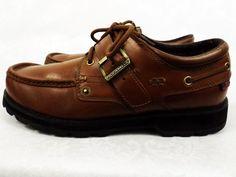 Men's Ralph Lauren Polo Rugged Lace Up Buckle Brown Leather Shoes Size 10D NICE! #PoloSportRalphLauren #BoatShoes