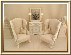 Front View of Burlap and Toile Wing Chairs...available at;  http://dollhouse-bedding-drapes.com