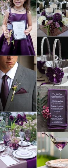 elegant and noble plum purple wedding color ideas for fall autumn wedding colors / wedding in fall / fall wedding color ideas / fall wedding party / april wedding ideas Elegant Wedding Colors, Spring Wedding Colors, Purple Fall Weddings, Plum Wedding Decor, Purple Wedding Colors, Purple Wedding Decorations, Lavender Weddings, Gray Weddings, Vintage Weddings