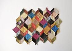 Antique Quilt Top Fragment Tumbling Blocks by AlegriaCollection