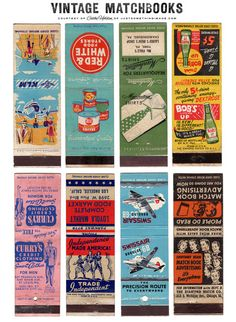 Few vintage graphics are as charming & cool as funky matchbook art. There's just something about the simplicity of the designs, thick typography and off-register spot printing of the colorful inks– not to mention the attention-getting verbage. Vintage Packaging, Vintage Labels, Vintage Ephemera, Vintage Ads, Vintage Images, Printable Vintage, Printable Tags, Vintage Pictures, Vintage Paper