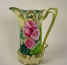 Beautiful hand painted RS Prussia pitcher with pink floral design