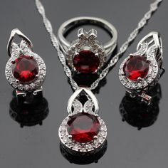 Made in China Red Created Garnet White CZ Silver Color Jewelry Sets Women NecklacePendantEarringsRings Free Jewelry Box