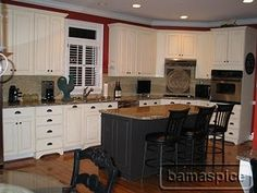contrasting color cabinets