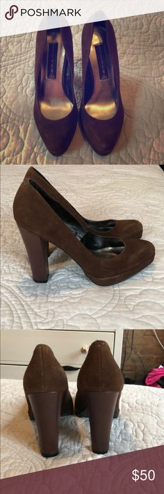 "🆕 Steven by Steve Madden Browne suede pumps Size 6.5 Leather upper. Brown heel. 5"" Slight wear to the sole but otherwise perfect condition Steven By Steve Madden Shoes Heels"