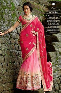 Noor Fuschia Pink Stonework Designer Lehenga #Saree, #Bling <3