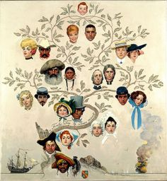 Family Tree by Norman Rockwell (1959) - I've always loved this. Notice that the mom & dad at top are actually distantly related.