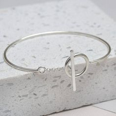 Sterling Silver Toggle Chain Bangle