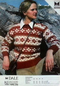 Dale the main pattern reminds me of the Fair Isle motifs? Here we have a hybrid! Fair Isle Knitting, Hand Knitting, Knitting Patterns, Norwegian Knitting, Fair Isle Pattern, Hand Knitted Sweaters, Vintage Knitting, Sweater Fashion, Christmas Sweaters