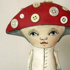 Mushroom Folk Art Doll Amanita Toadstool by cartbeforethehorse