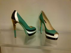 """SOLD!!! New #RuthieDavis Golf Peep Toe """"Grass Multi"""" Platform Heels Green, navy and white with gold tone heel, size 37/7 RETAIL: $798 OUR PRICE: $250"""