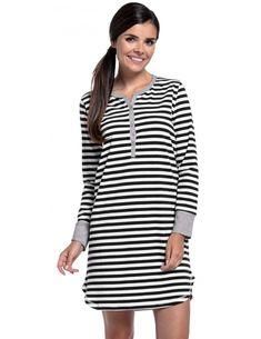 928ea0f167819 Lora Black Stripe Snap Front Nightgown. Maternity Nursing PajamasKangaroo  CareDelivery GownNursing WearFriend OutfitsGet DressedNight ...